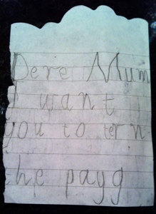 Page one of the best love letter from a child